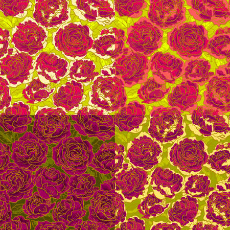 Collection of seamless floral pattern with hand-drawn red roses Vector