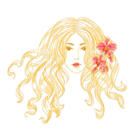 Vector portrait of a beautiful girl with long curly hair and orchid flowers