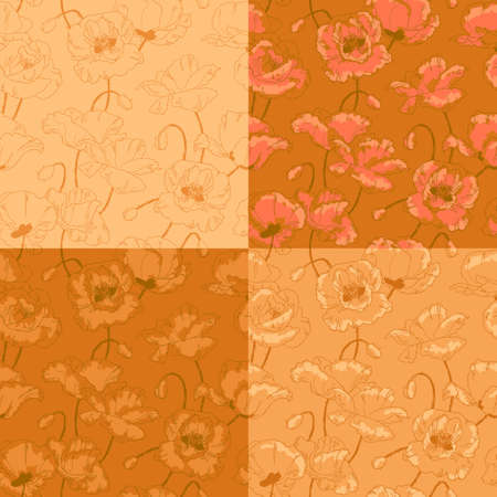 Seamless floral pattern with poppy flowers in vintage style and gold colors Vector