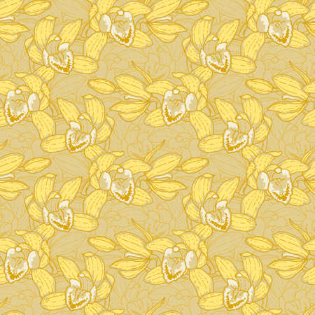 Seamless floral pattern with hand-drawn yellow orchid Vector