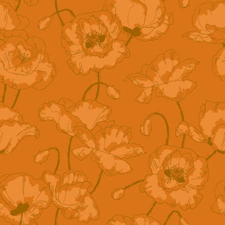 Seamless floral pattern with poppy flowers in vintage style and gold colors Stock Vector - 13858656