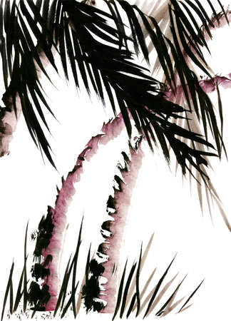 Landscape with palm trees in the style of traditional Chinese painting, Wu Xing  My own work  photo