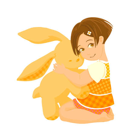 Illustration of pretty girl hugging a bunny toy Vector
