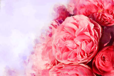 Digital painted picture with rose bloom and leafs   Can be used as invitation card or picture card background Stock Photo - 14396221