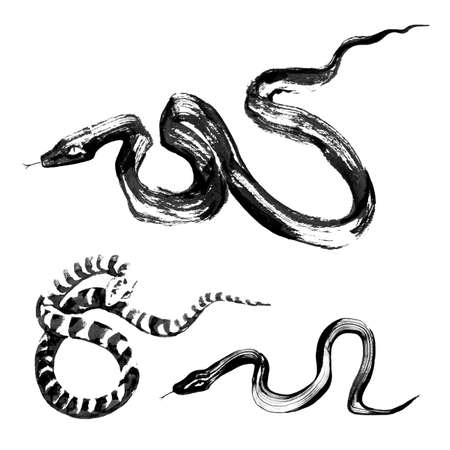 Set of 3 Snakes in the style of traditional Chinese ink painting Vector