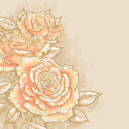 gold leafs: The contour drawing pink roses with leaves on toned background  Watercolor style  Can be used as background for invitation cards