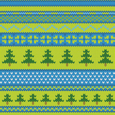 Vector seamless knitted pattern with pine Vector