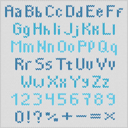 Blue knitting letters on gray background Vector