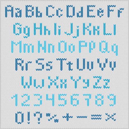 Blue knitting letters on gray background Illustration