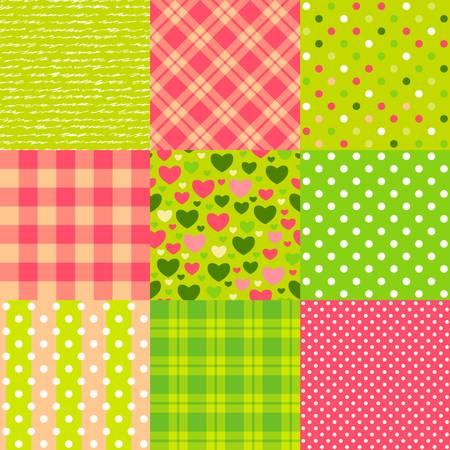 원활한 새해 패턴 물방울 무늬, 스코틀랜드 격자 무늬, 하트 등의 설정