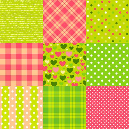 Set of seamless New Year patterns  polka dot, scottish plaid, hearts and other  Illustration