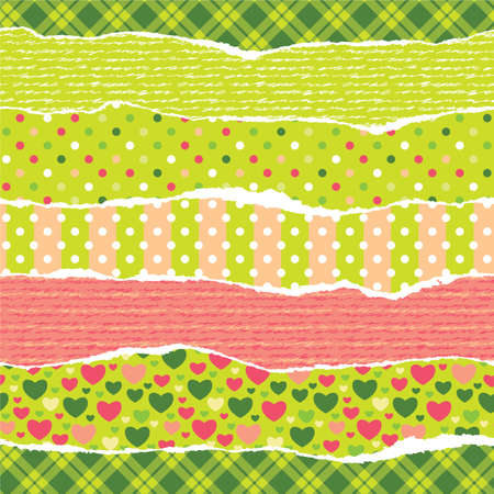 Torn wrapping paper with Christmas patterns  Seamless vector vibrant pattern