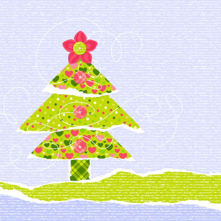 New Year or Christmas scrapbooking card with stylized Christmas tree Vector