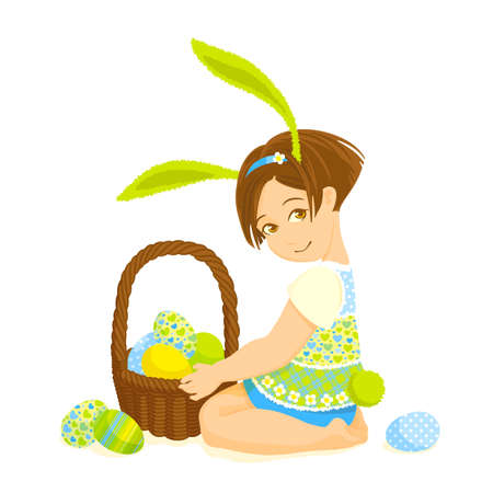 small girl: Little girl with rabbit ears holding a basket of eggs Illustration