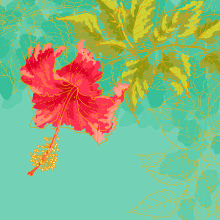 The contour drawing hibiscus flower with leaves on toned turquoise background  Watercolor style  Can be used as background for invitation cards