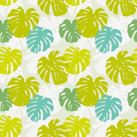 熱帯: 熱帯のつる植物の葉とのシームレスな背景パターン