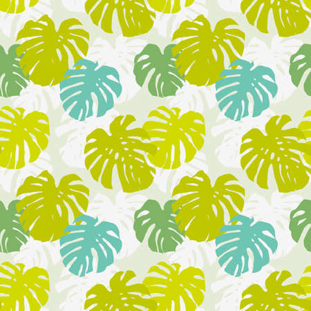 Seamless background pattern with leafs of tropical liana