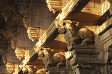 architectural heritage: Columns with the relief of mythical beasts, Ramanathaswamy Temple  Rameshwaram, Tamil Nadu, India , 12th century, Pandya Dynasty  Stock Photo