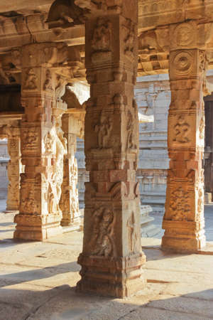 sun drenched: Some beautiful pillar of the Krishna temple in Hampi, a village on the place of the great ancient city Vijayanagara  Karnataka, India Stock Photo