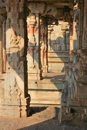 architectural heritage: Some beautiful pillar of the Krishna temple in Hampi, a village on the place of the great ancient city Vijayanagara  Karnataka, India Stock Photo