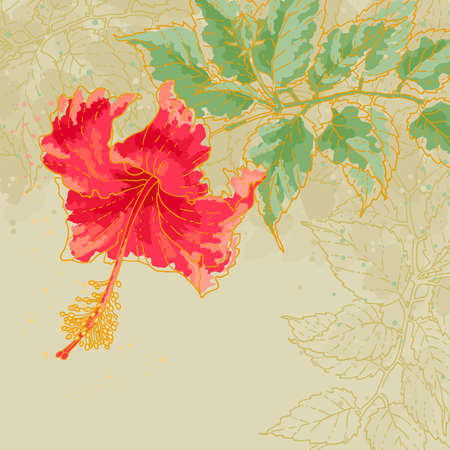 The contour drawing hibiscus flower with leaves on toned beige background  Watercolor style  Can be used as background for invitation cards