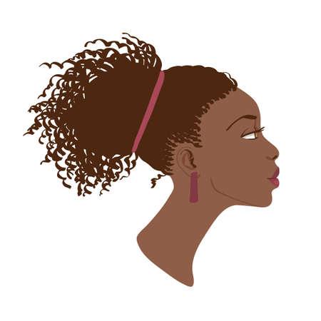 아름 다운 아프리카 계 미국인 여성의 측면보기 벡터 초상화