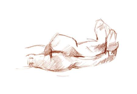 Boceto tiza roja Sanguina del cuerpo de la mujer en el papel blanco Foto de archivo - 21751505