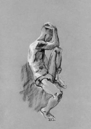 Disegnare a carboncino e gesso del corpo nudo dell'uomo sulla carta tonica Archivio Fotografico - 21751512