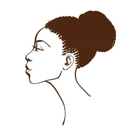 ラインアートのスタイル側のビューの美しいアフリカ系アメリカ人女性の肖像画