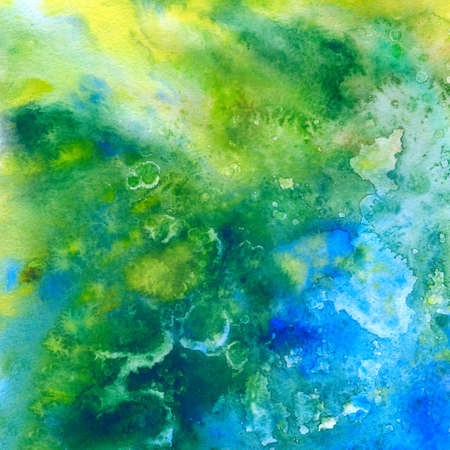 Green and blue abstract watercolor background, scanned in high resolution Stock Photo