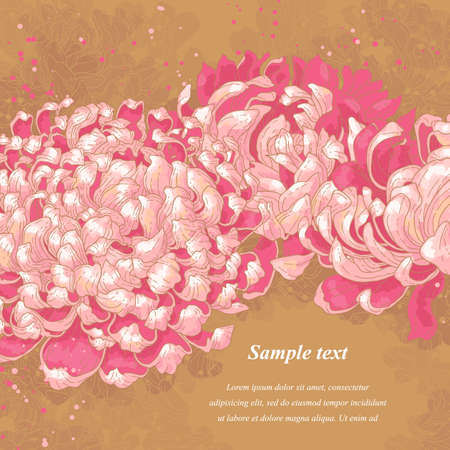 Romantic background with pink chrysanthemum on gold background  Can be used as background for wedding invitation cards