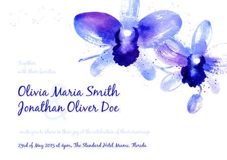Vector achtergrond met blauwe aquarel orchideeën voor bruiloft uitnodiging of flyer Stock Illustratie