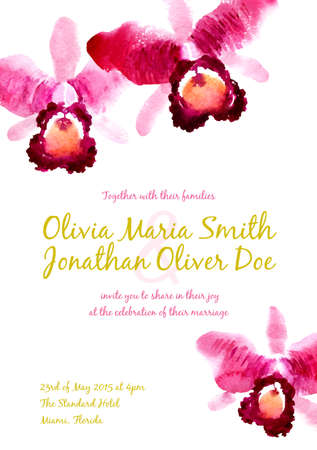 Vector background with red watercolor orchids for wedding invitation or flyer