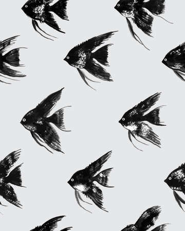 Vector seamless pattern with watercolor black angelfish on gray background