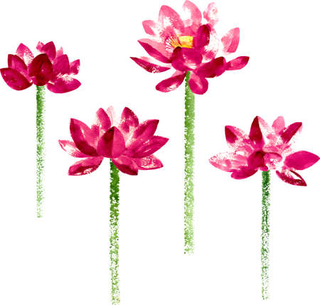 Vector collection with red watercolor lotus for wedding invitation or flyer