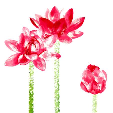Vector background with red watercolor lotus for wedding invitation or flyer Ilustração Vetorial