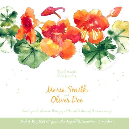 Vector background con arancia Acquarello nasturzio per invito a nozze o un volantino Vettoriali