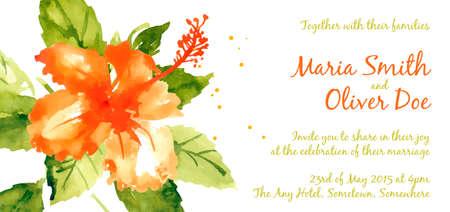 Vector background con ibisco acquerello rosso per invito a nozze o un volantino