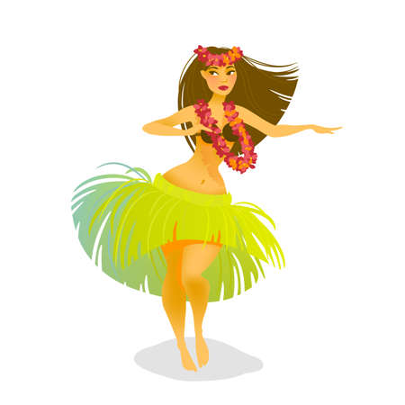 Illustration of a Hawaiian hula dancer woman dancing in a grass skirt Illustration