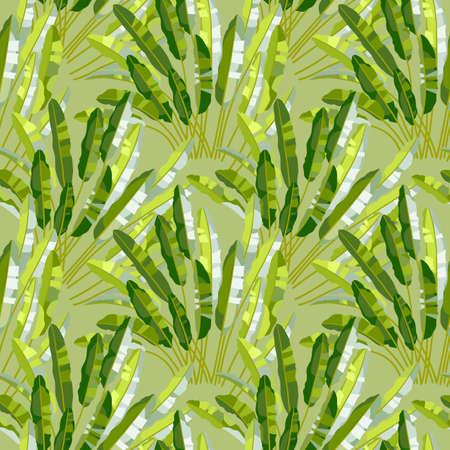 Wektor bez szwu z zielonymi listkami tropikalnych