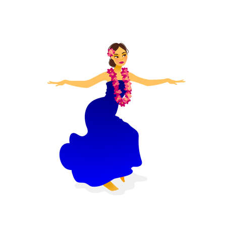 Illustration of a Hawaiian hula dancer woman in long dress Ilustração