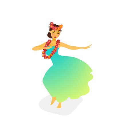 Illustration Of A Hawaiian Hula Dancer Woman In Long Dress Stock Vector