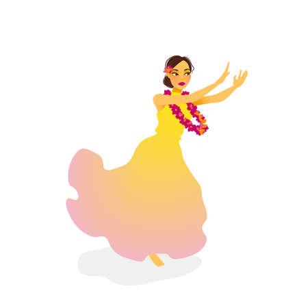 ロング ドレスでハワイ フラ ダンサー女性のイラスト