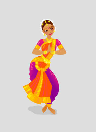 Illustration with dancing Indian woman dancing in traditional Indian style Bharatanatyam