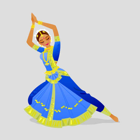 Illustration with dancing Indian woman dancing in traditional Indian style Bharatanatyam Фото со стока - 74862885