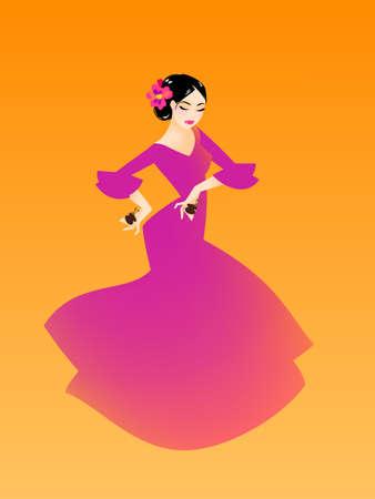 Illustration of a woman dancing flamenco