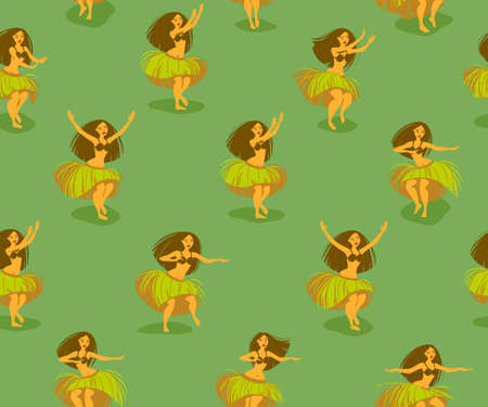 Seamless pattern with beautiful Hawaiian hula dancer woman dancing in a grass skirt