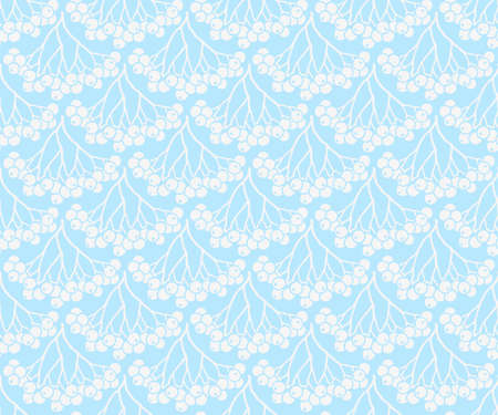 Seamless pattern with white rowan berries