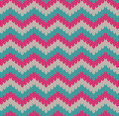 Beautiful zig-zag seamless vector pattern, imitating knitted fabric Ilustracja