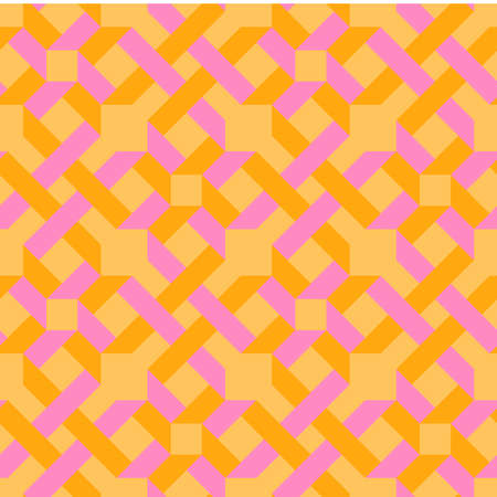 Origami. Seamless pink and orange simple geometric pattern in oriental style